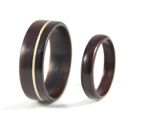 Ebony Infinity Wedding Ring Set - left side