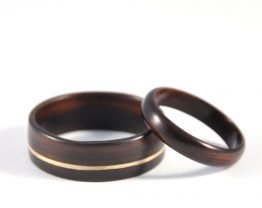 Ebony Infinity Wedding Ring Set - flat on the surface