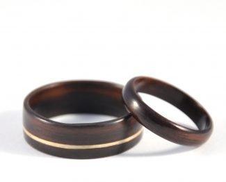 Ebony Infinity Wedding Ring Set - flat on the surface