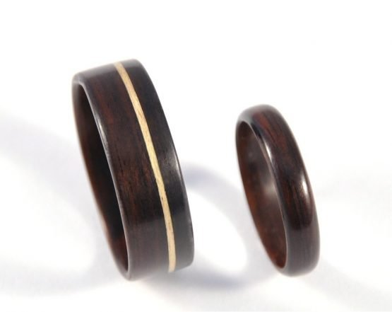 Ebony Infinity Wedding Ring Set - from top
