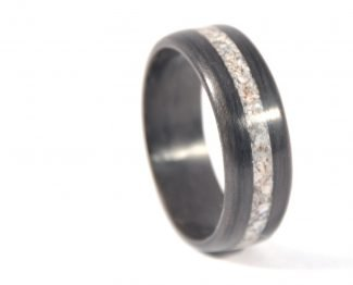 Wooden ring made of aged black walnut and seashell inlay - right side
