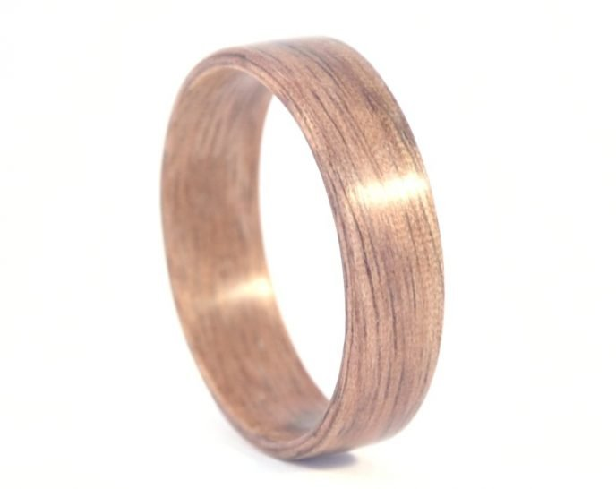 American walnut - hand carved natural jewelry wood ring - right side