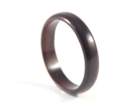 Ebony wooden ring, thin - right side