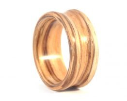 Zebra Wood Deep set Concave Ring - right side