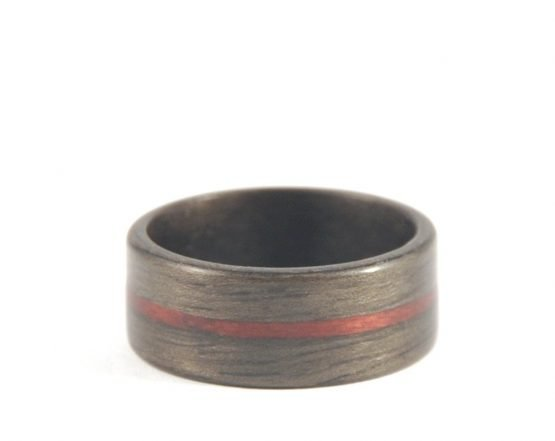Mens wooden ring - Aged Walnut and Purple Heartwood - laying flat