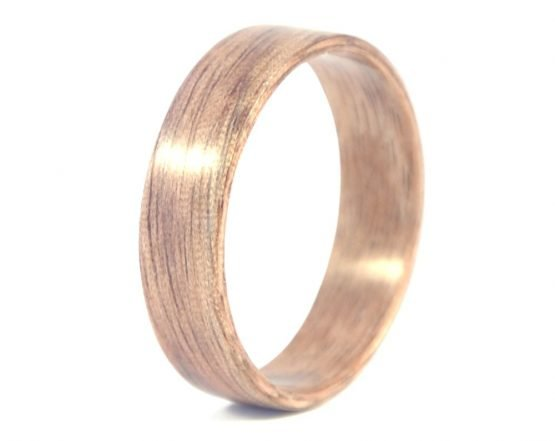 American walnut - hand carved natural jewelry wood ring - left side