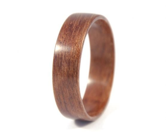 European walnut wooden ring - left side