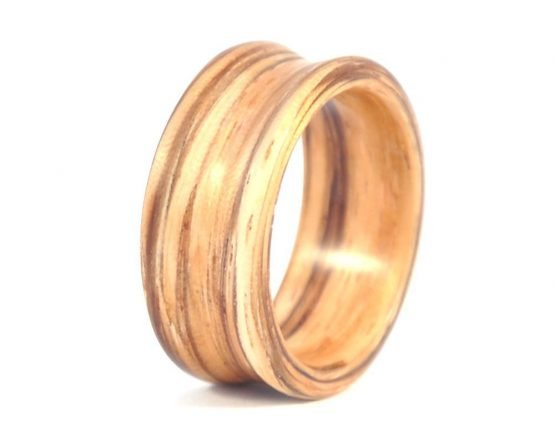 Zebra Wood Deep set Concave Ring - left side