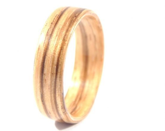 Zebra wood ring - left side