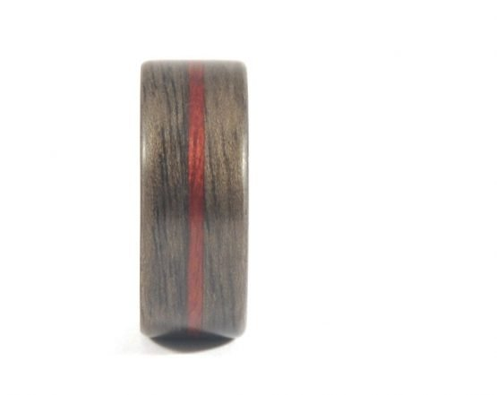 Mens wooden ring - Aged Walnut and Purple Heartwood - front