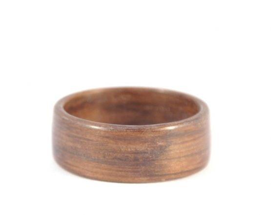 Brown colour aged oak wood ring - lying flat