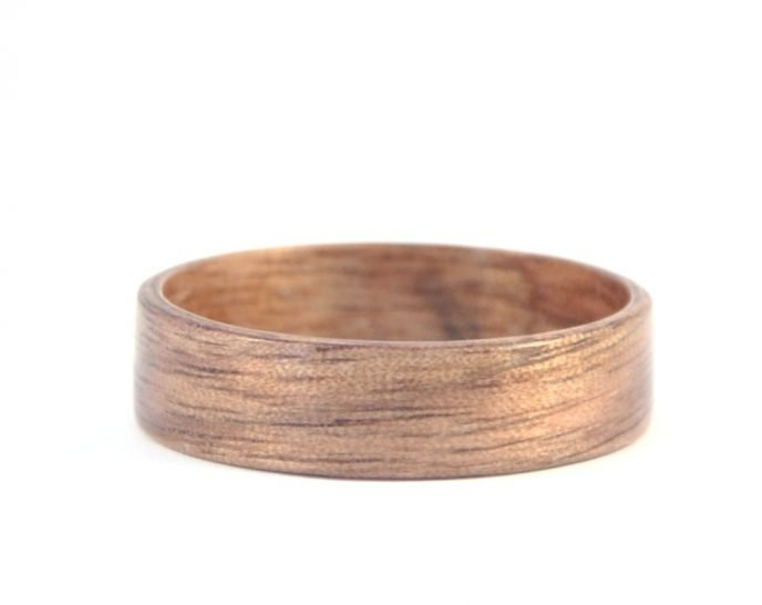 American walnut - hand carved natural jewelry wood ring - lying flat