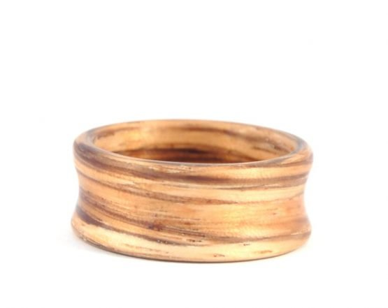 Zebra Wood Deep set Concave Ring - lying flat