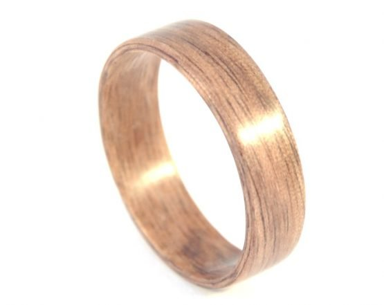 American walnut - hand carved natural jewelry wood ring - from top