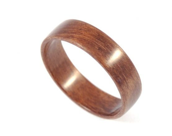 European walnut wooden ring - from top