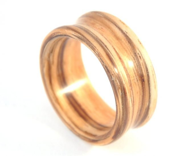 Zebra Wood Deep set Concave Ring - from top