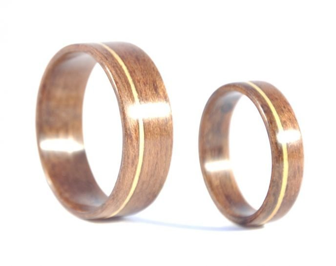 QLD walnut and huon pine matching wedding rings - right side