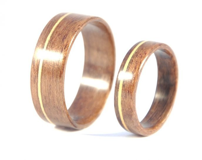 QLD walnut and huon pine matching wedding rings - left side