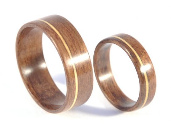 QLD walnut and huon pine matching wedding rings - from top
