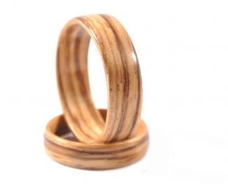 Zebra wood wedding ring set - right side