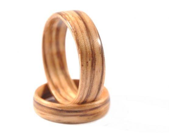 Zebra wood wedding ring set - right side