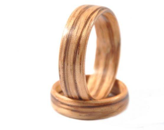 Zebra wood wedding ring set - leftside