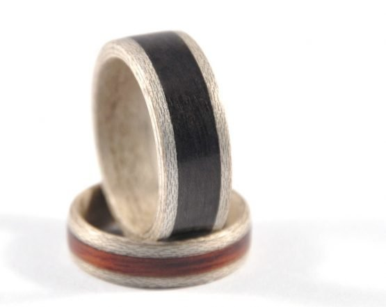 Ash Grey Sycamore Set - one ring supporting the other