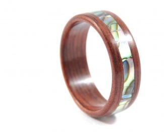 Jarrah wooden ring with abalone seashell inlay - right side