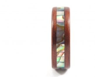 Jarrah wooden ring with abalone seashell inlay - front