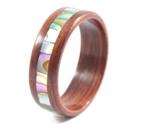 Jarrah wooden ring with abalone seashell inlay - left side