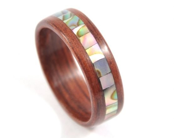 Jarrah wooden ring with abalone seashell inlay - from the top