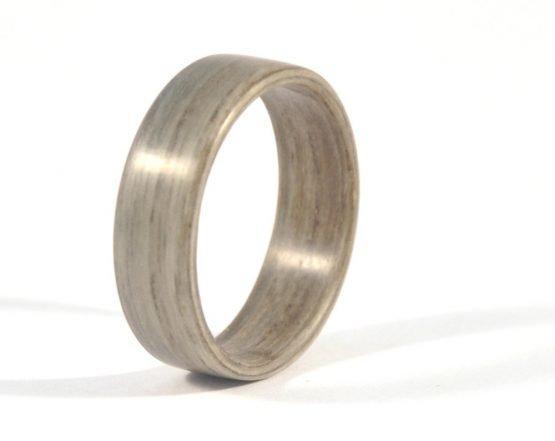 Grey ash wooden ring - left side