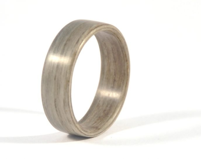 Grey ash wooden ring - left side