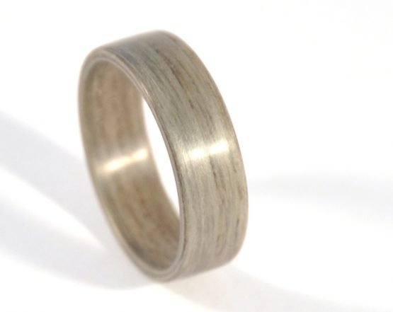 Grey ash wooden ring - from the top