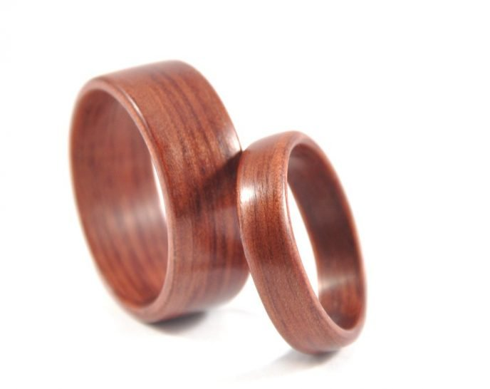 Jarrah wooden ring wedding set - leaning on each other