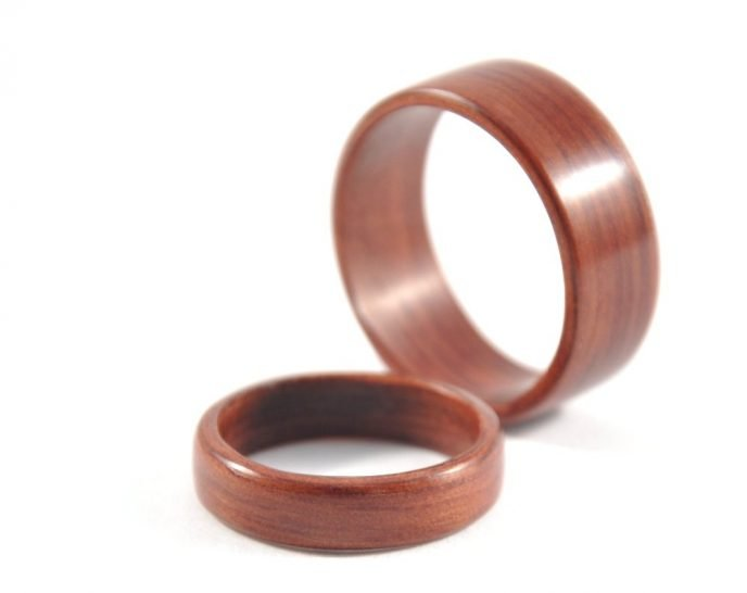 Jarrah wooden ring wedding set - big ring in the back