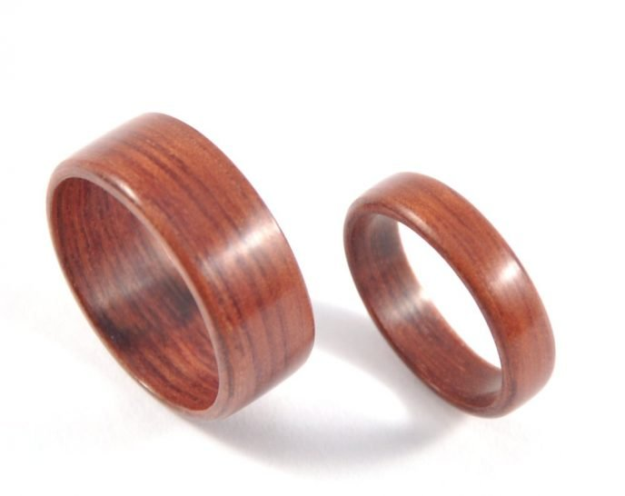 Jarrah wooden ring wedding set - from top