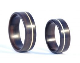 Unique wooden ring set made of Ebony and Sycamore inlay - right side
