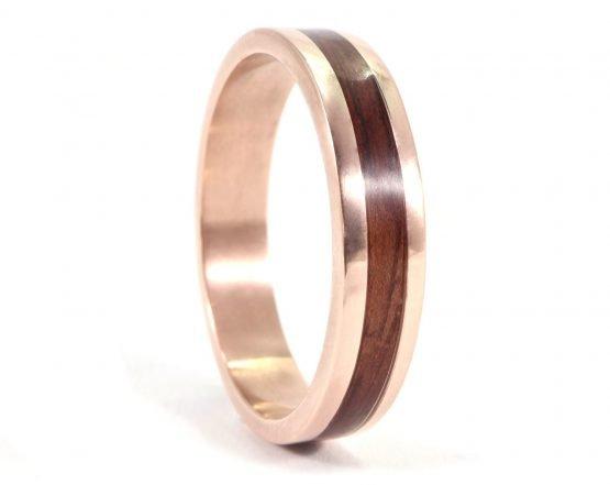 Rose Gold and Jarrah Mens Ring