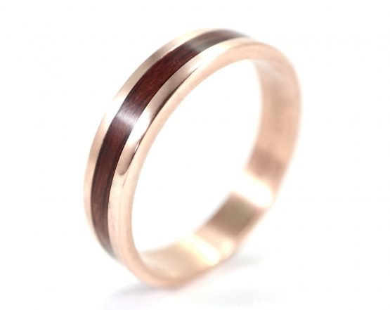 Rose Gold and Jarrah Men's Ring top left